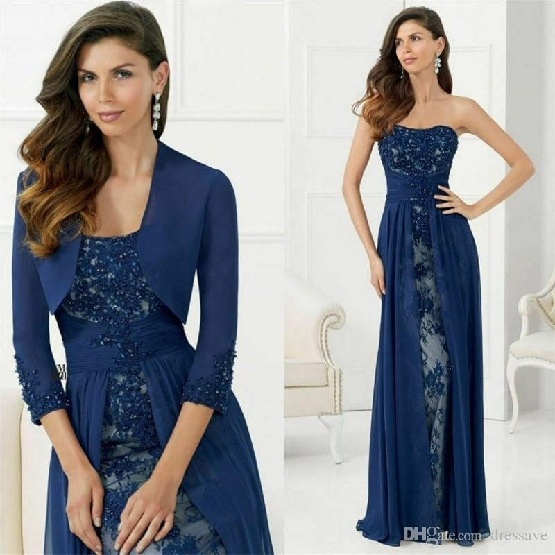 New Navy Blue Mother Of The Bride Evening Dress With Jacket Sequins Applique Long Sleeve Floor Length Groom Mother Dress