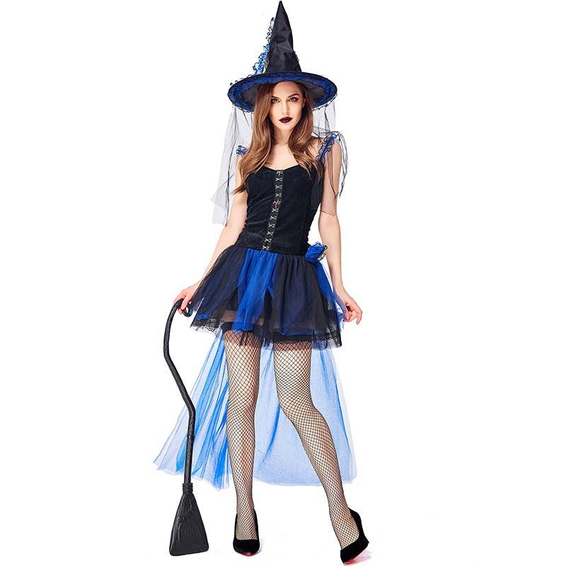 <font><b>Halloween</b></font> Witch <font><b>Costume</b></font> <font><b>For</b></font> <font><b>Women</b></font> Adult <font><b>Sexy</b></font> <font><b>blue</b></font> Swallow Tail Braces Dress Hat Carnival Party Female Suit image