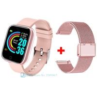 Lesfit-reloj inteligente rosa para hombre y mujer, pulsera con correa de silicona para Android IOS, Electrónica inteligente, deportivo