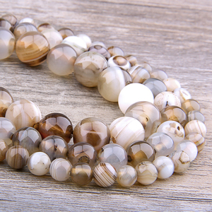 Gray smoky Agates beads Natural Stone Beads Smooth Striped Round loose beads For Jewelry Making Diy Bracelet Necklace handmade(China)