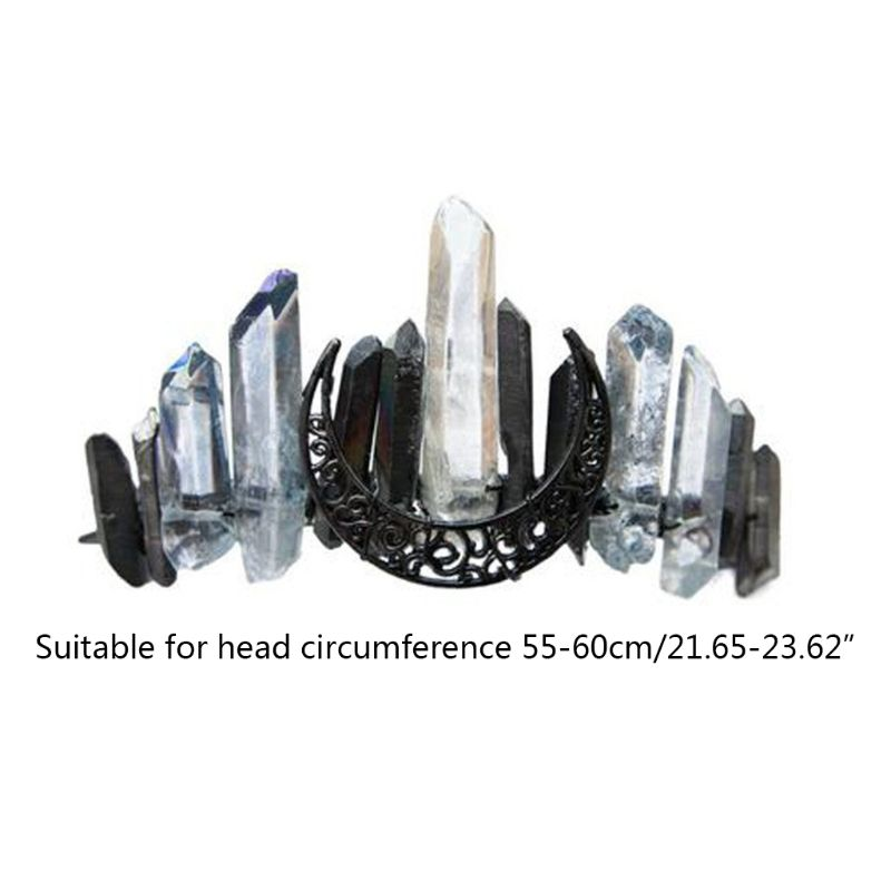 bandana quartzo preto lua nupcial liga tiara coroa