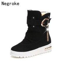 купить 2019 Women Snow Boots Winter Fur Ankle Boot Female Buckle Warmer Plush Suede Rubber Flat Slip On Platform Ladies  Booties Shoes дешево