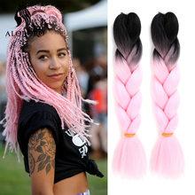 Alororo ombre trança cabelo sintético tranças 24 polegadas afro rosa jumbo trança extensão do cabelo para tranças 100 cores
