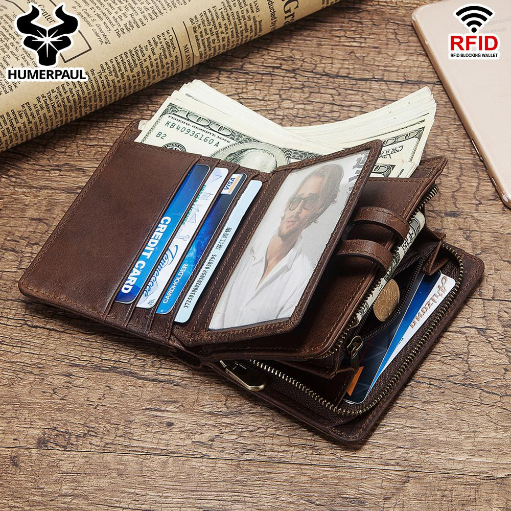 HUMERPAUL 100% Genuine Crazy Horse Leather Rfid Wallet Men Wallets Coin Purse Short Male Money Bag Quality Designer Small Walet