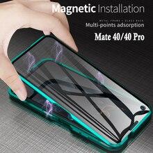حافظة لهاتف Mate 40 Pro Nova 8 SE حافظة مغناطيسية 360 مزدوجة الجانب لهاتف Huawei Y6P 2020 حافظة لهاتف كامل الجسم من الزجاج المقسى الشفاف