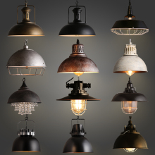 Retro Industrial Style Creative Hotel Restaurant Single-Head Bar Chandelier Iron Spray Paint
