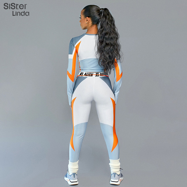 Sisterlinda Letter Print Skinny Fitness Tracksuit Sets Women Elasticity  T-Shirts Tops And Pants Leggings Two Pices Suits Mujer 3