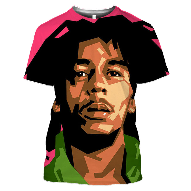 Bob Marley Rock Hip Hop T Shirt Men Male Summer Plus Size Streetwear Casual Short Sleeve Round Neck Weeds Reggae Star T-Shirt (19)