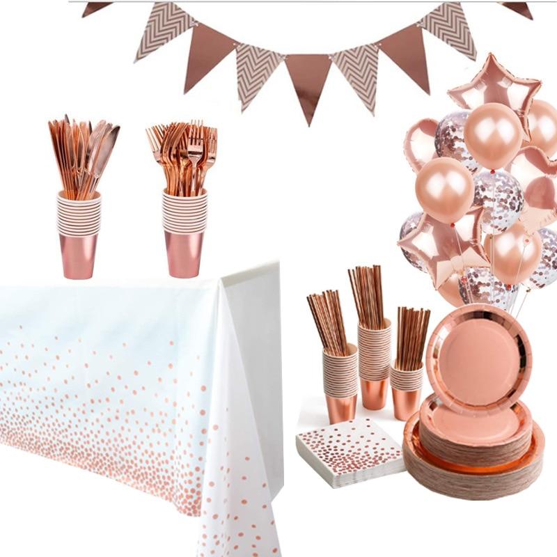 Conjunto de louças descartáveis em ouro rosado, copos de papel, placas, canudos, suporte de mesa, decoração de casamento, aniversário, suprimentos para festa