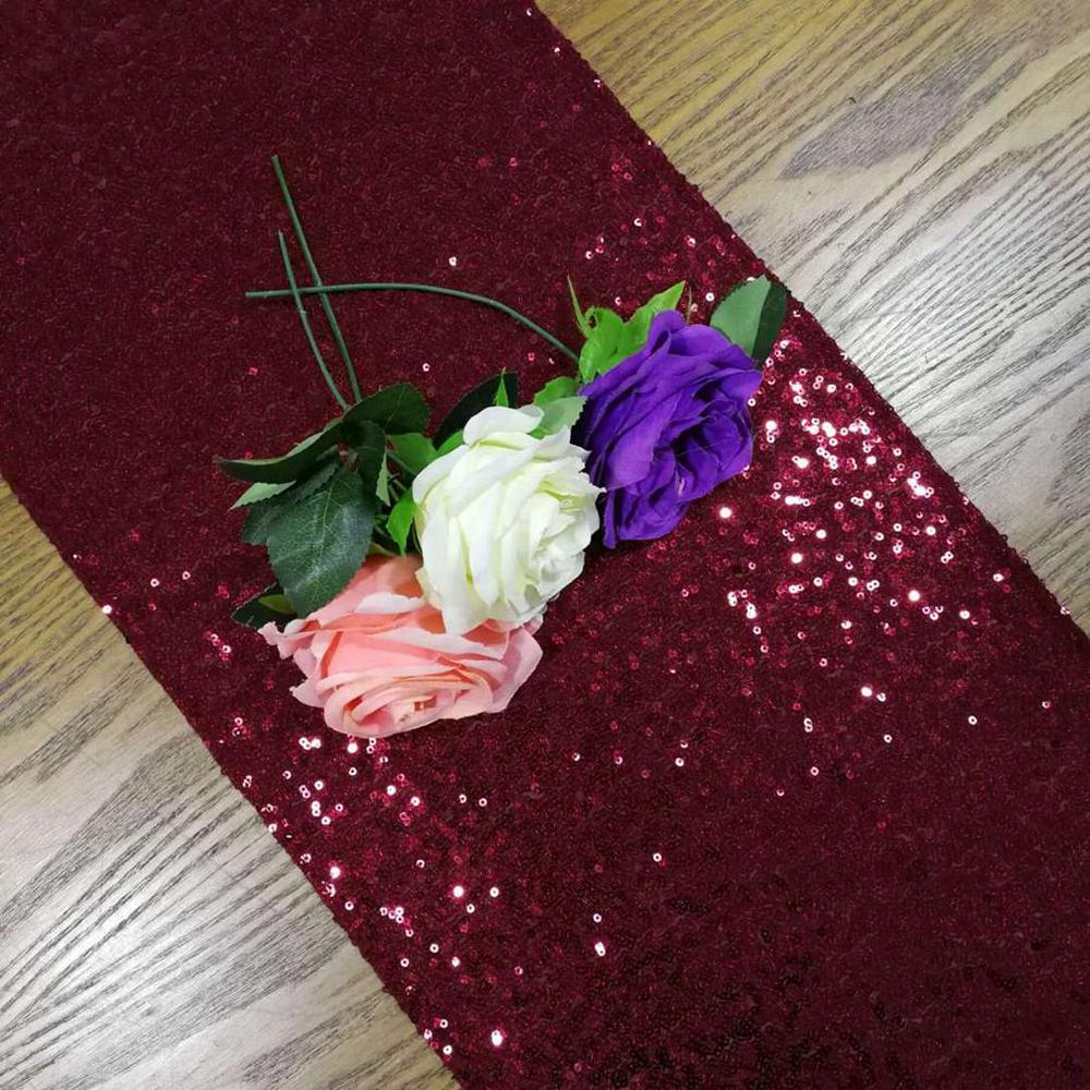 Sequin Table Runner 108 Inches Burgundy Bridal Shower Decorations Burgundy Glitter Table Runners-M1015