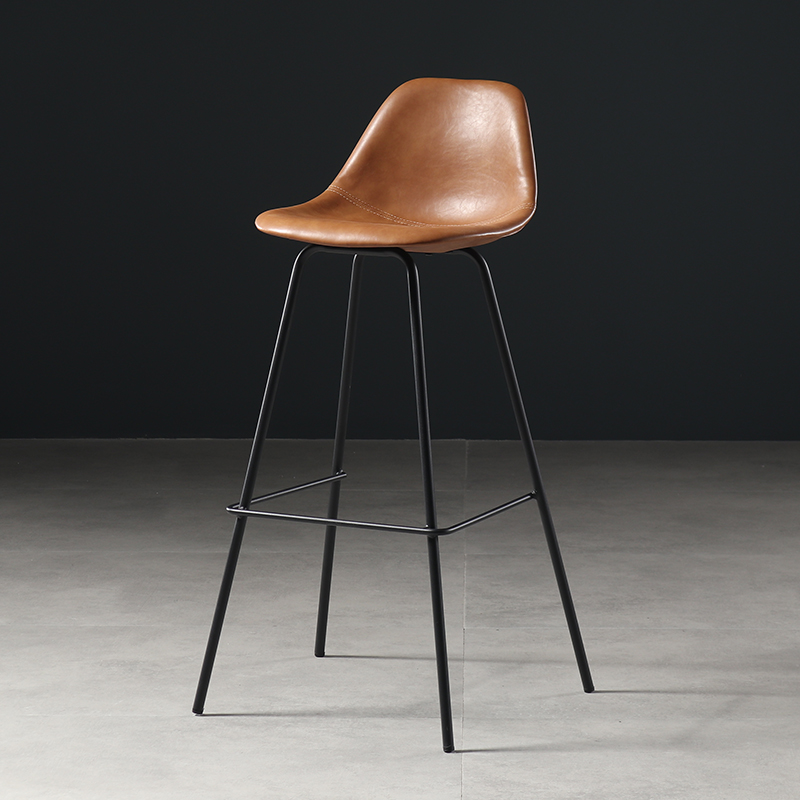 Nordic Wrought Iron Bar Chair Modern Minimalist  Stool Fashion    Table And  Home Back High Foot Leather Dini