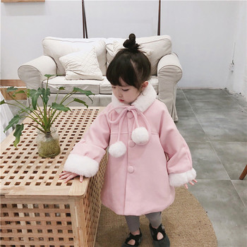 Tonytaobaby Winter New Style Baby Girls Light Luxury Wind Pink Deconstructable Fur Collar of Padded Overcoat