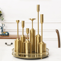Nordic Gold plated Candleholder Light Luxury Metal Six Pieces Candlestick Ornament Figurines Antique Home Decor Candle Holder