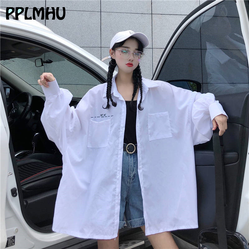 Fashion Harajuku Oversize Letter Shirts Women Plus Size New Loose Streetwear Spring Long Sleeve Cardigan Casual White Blouses