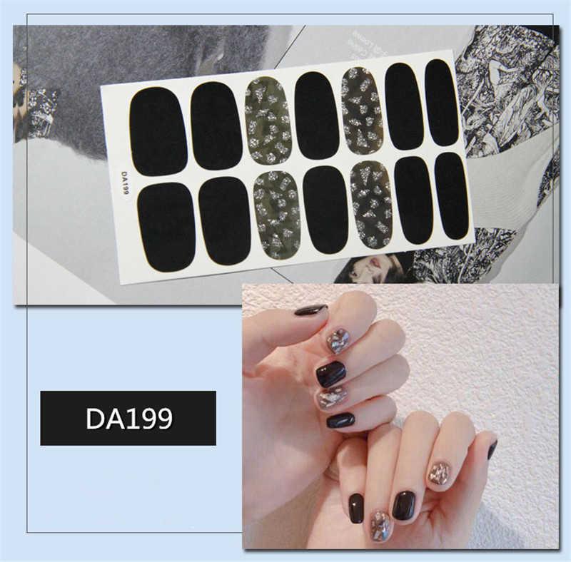 14tip Fullสติกเกอร์Wrapsตกแต่งDIYเล็บSliderเล็บDecalsเล็บArtกาวสติกเกอร์สีชมพูสีขาวสีดำสีน้ำตาล