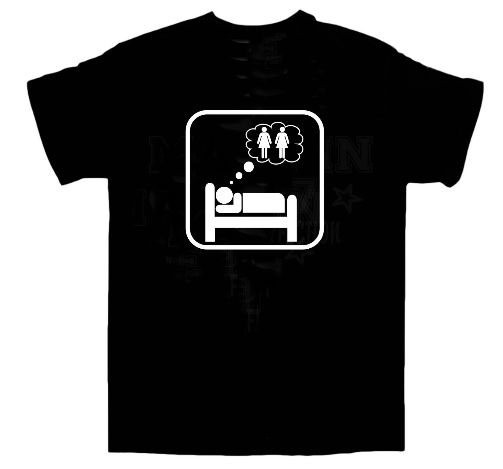 Dreaming Of 2 Girls T-shirt / Sex / Threesome / Orgy / Wedding / BBQ / All Sizes Tricolor top tee image