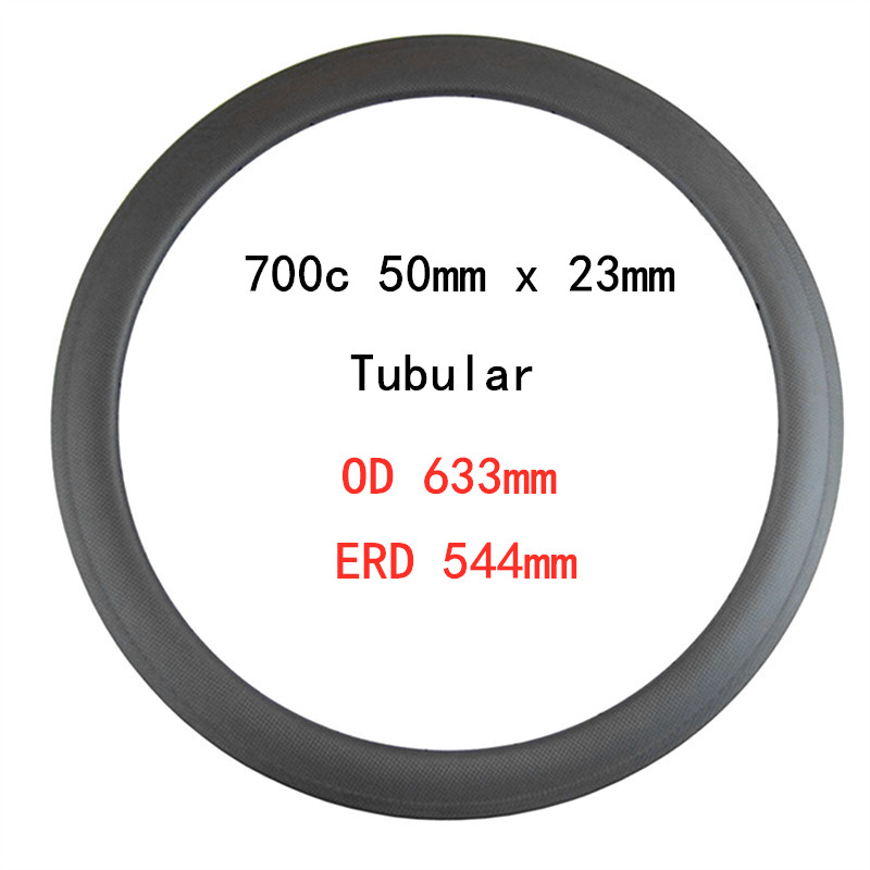 385g 700c Road bicycle Carbon <font><b>Rim</b></font> 50mm x 23mm wide Tubular OD 633mm V brake basalt surface ERD 544mm 3K matte 20 H <font><b>24H</b></font> 28Holes image