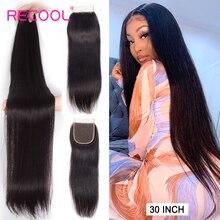 Recool 28 inç 30 32 38 40 inç demetleri ile kapatma düz insan saçı uzantıları brezilyalı saç örgü demetleri ile kapatma