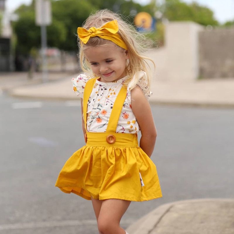 3 sztuk/zestaw ładna dziewczyna moda sukienka letnia dziewczynka ubrania zestawy odzież dla niemowląt modny pasek sukienka + T-shirt + Hairband dzieci