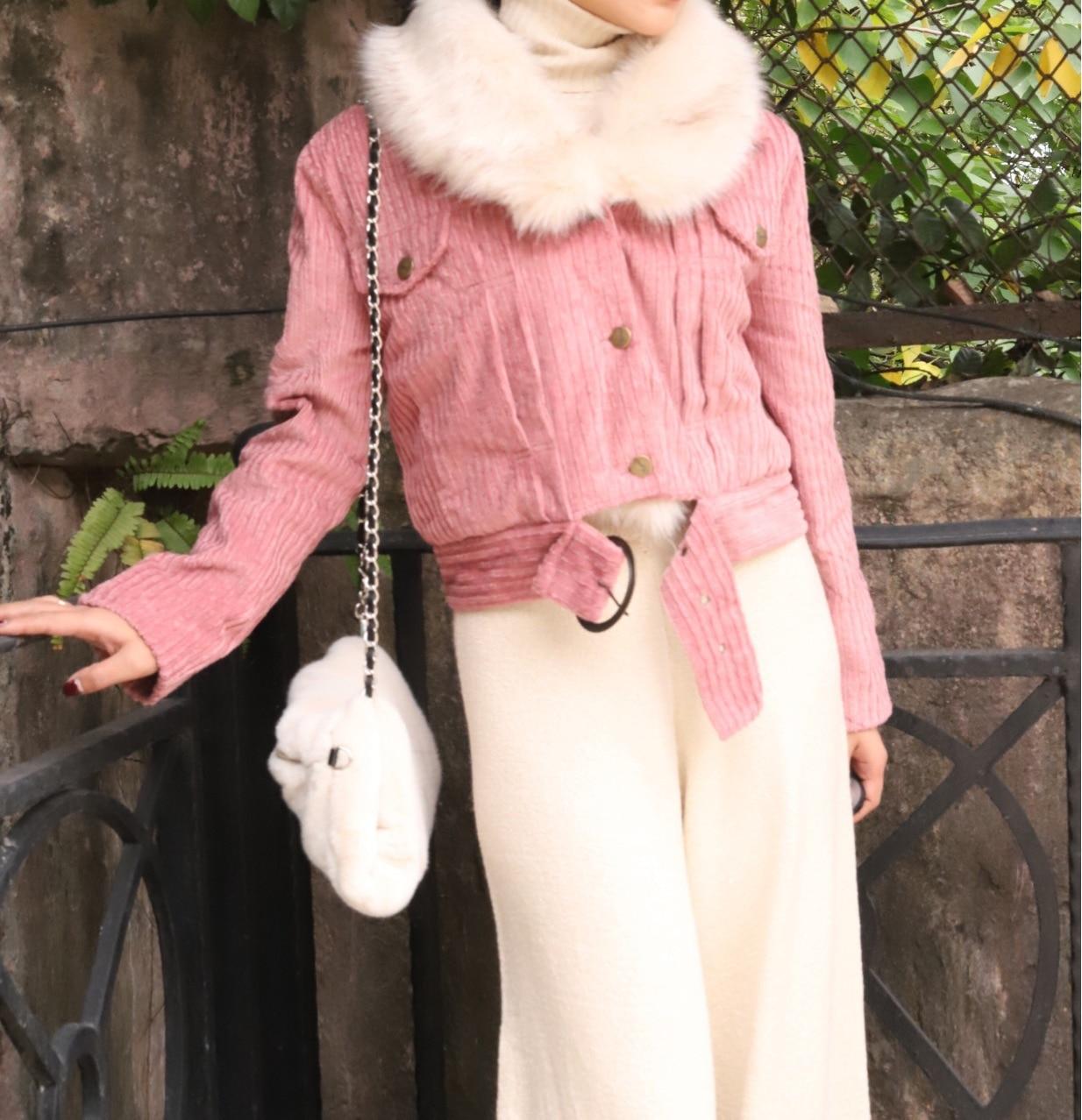 [R c] промышленный настраиваемый Raspberry порошок вельвет рук хлопок пальто куртка (меховой воротник Splittable)