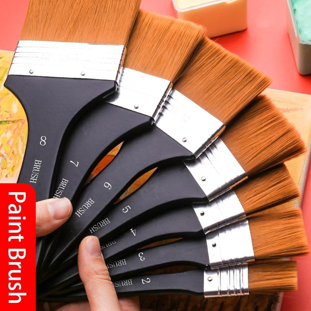 Высококачественная нейлоновая кисть для рисования различных размеров, акварельные кисти с деревянной ручкой для акриловой масляной краск...