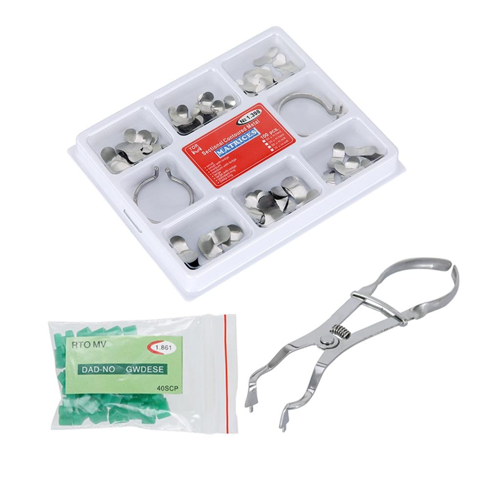 100Pcs/Box Dental Sectional Contoured Matrices Metal Matrix No.1.398 Matrix Band Forming Clip 40Pcs/Box Silicone Add-On Wedges