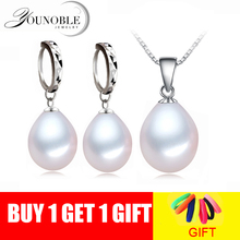 Real White Natural Freshwater Pearl Necklace Earring Sets Women,Wedding 925 Silver Pearl Set Birthday Gift