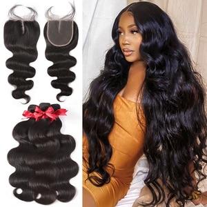 Body Wave Hair Bundles With Closure Hair Extension Brazilian Hair weave 3 Bundles 28 30 inch Remy Human Hair For Black Women