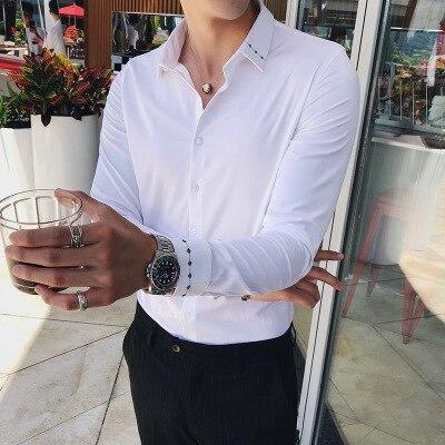 Hommes chemise à manches longues 2019 printemps coréen Slim décontracté cravate chemise blanche hommes beau cheveux styliste tendance