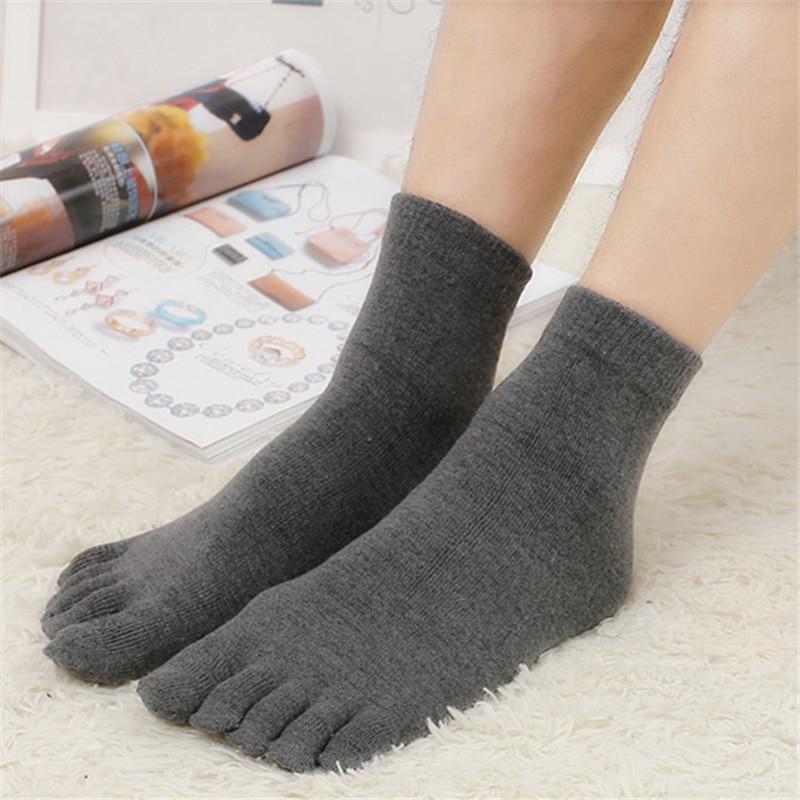 1pair Solid White Black Gray Men Toe Socks Bamboo Fiber High Quality Male Summer Winter Cotton Socks Five Finger Socks K2946