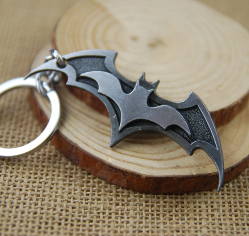 Man Movie Theme Metal Keychains Batman Movie Jewelry Key Chains Comic Figure Pendant Accessories Key Gift Bat image