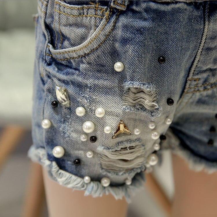 2019 Spring summer new girls denim shorts Korean children's wild washed broken flash edge hot pants jean fille 3