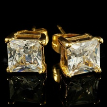 Dazzling Gold Color Square Cut Cubic Zirconia Stud Earring Cocktail Party Iced Out Crystal Earring Hip Hop Jewelry for Men Women top quality white gold color square aaa cubic zirconia stud earring for women wedding elegant jewelry