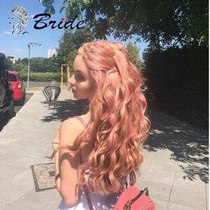 Pelucas sintéticas naranjas y rosadas de novia, peluca Frontal de encaje, extensiones postizas naturales onduladas de cabello, peluca con extensión de tapa, pelucas para fiesta de mujer