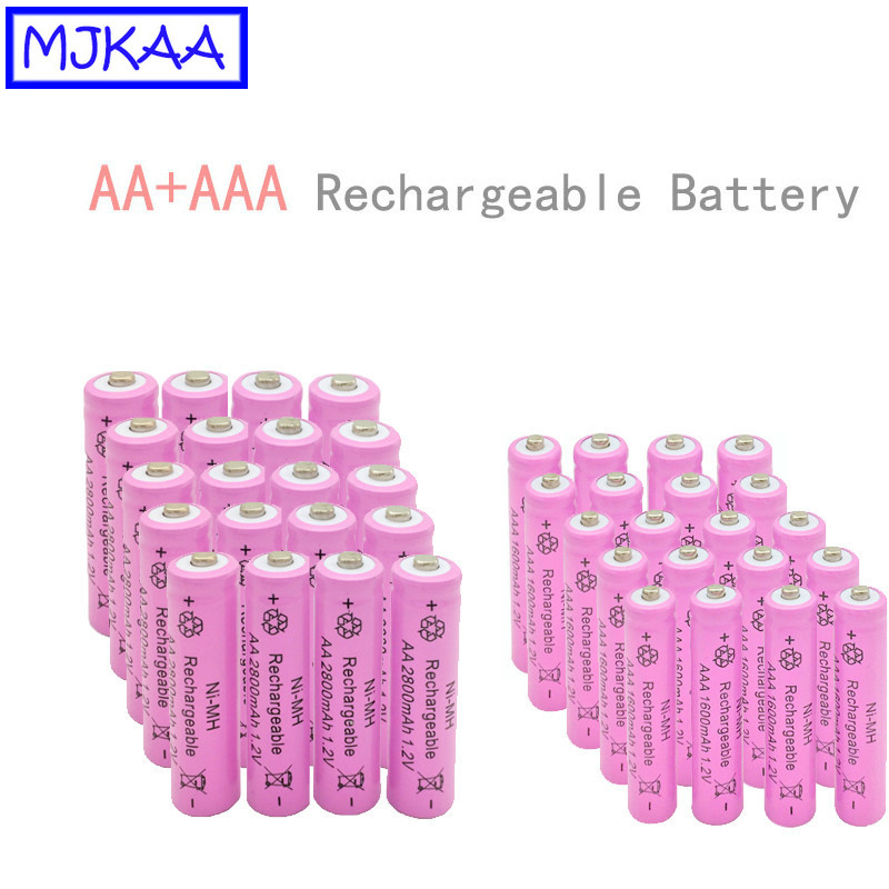 MJKAA 24/40Pcs AA <font><b>1.2V</b></font> 2800mAh <font><b>Ni</b></font>-<font><b>MH</b></font> Rechargeable Battery + AAA <font><b>1.2v</b></font> 1600mAh NIMH Rechargeable Batteries image
