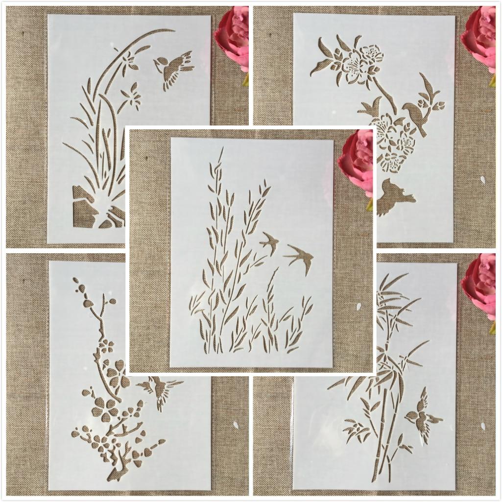 5Pcs/Lot 29cm A4 Swallow Bird Grass Bamboo DIY Layering Stencils Painting Scrapbook Coloring Embossing Album Decorative Template