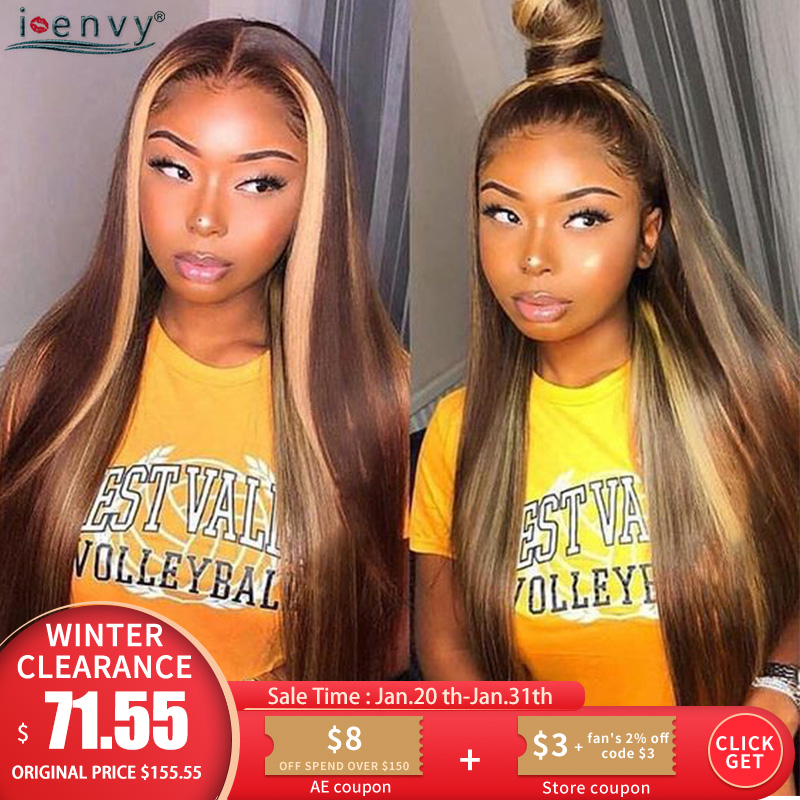 Blonde Lace Front Human Hair Wigs Straight 13*4 Ombre Colored Human Hair Wigs Preplucked Highlight Brazilian Remy Lace Wig 180%
