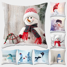 Рождественская наволочка Снеговик Подушка Наволочка квадратная