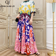 Qian Han Zi 2019 Brand Autumn Designer Runway Fashion Maxi Gown Womens Long Sleeve Vintage Print Pleated Long Beach Dress