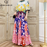 Qian Han Zi 2019 Brand Autumn Designer Runway Fashion Maxi Gown Women's Long Sleeve Vintage Print Pleated Long Beach Dress