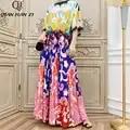 Qian Han Zi 2019 Merk Herfst Designer Runway Fashion Maxi Gown vrouwen Lange Mouwen Vintage Print Geplooide Lange Strand jurk