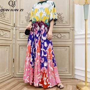 Image 1 - Qian Han Zi vestido largo plisado de manga larga para mujer, Vestido largo de marca de diseñador de otoño a la moda de pasarela, estampado Vintage para playa, 2019