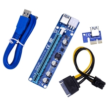 HOT-60cm VER 008C Molex 6 Pin PCI Express PCIE PCI-E yükseltici kart 1X to 16X Extende USB3.0 kablo madenciliği Bitcoin madenci