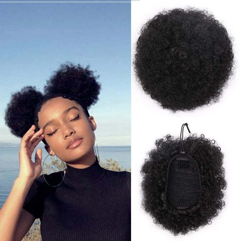 MANWEI8inch Short Afro Puff Synthetic Hair Hair Bun Curly Wig Ponytail Drawstring Short Afro Kinky Pony Tail Clip In On Syntheti