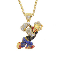 New Cartoon Rhinestone Animation Popeye Pendant Necklace Party Jewelry Gift Hip Hop Necklace With Stainless Steel 76cm Chain