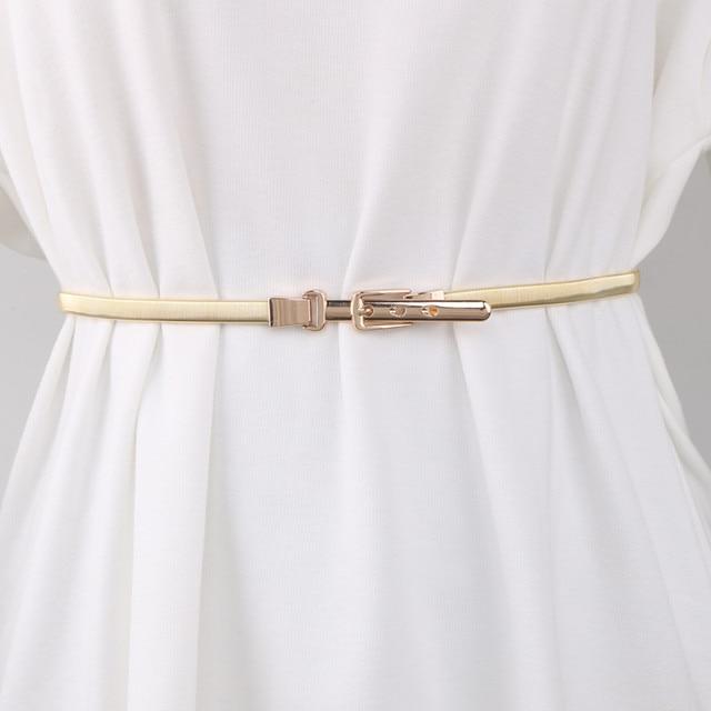 Women Buckle Button Design Belt Metal Cummerbund Clasp Front Stretch Waistband Gold Silver elastic Waist Belt Chain Belt