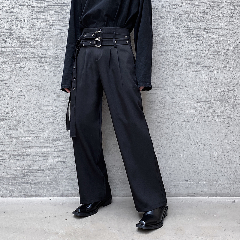 Men Autumn New Double Belt Loose Straight Wide-Leg Casual Pants Male Harajuku Streetwear Vintage Fashion Trousers
