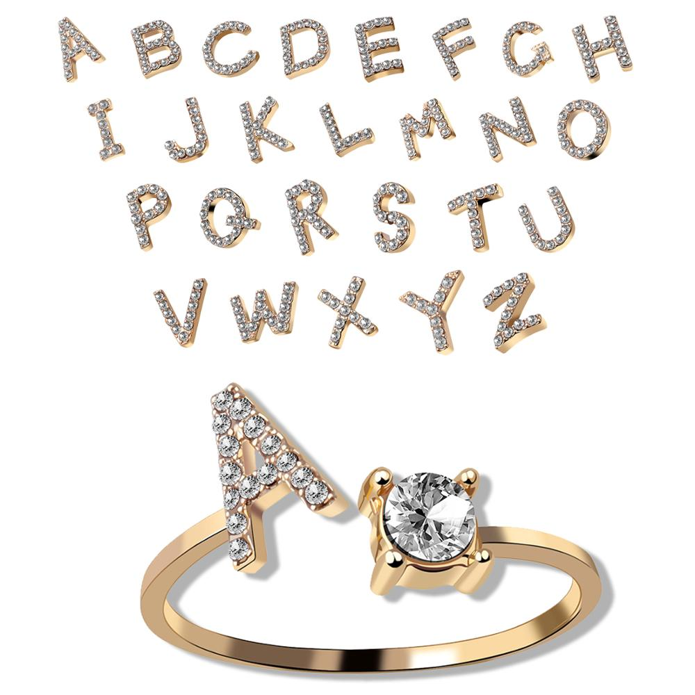 Модное кольцо с 26 буквами и микро цирконием золотого цвета, кольца для женщин и девочек, открытые кольца с именем, ювелирные изделия, аксессу...