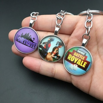 Fortnite Gem Key Pendant Keychain Fortress Night Personalized Keyrings Glass Cabochon for Women Key Chains Ring Car Bag Pendent keychain car japan amulet talisman cartoon bear dog lucky fortune cat rabbit key chains women bag pendent airpods accessories