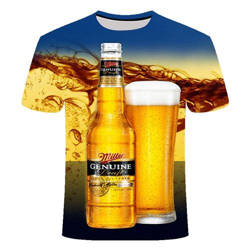 Летняя футболка с 3D принтом в виде пива, покера, для мужчин и женщин, забавная Новинка, футболка с круглым вырезом и коротким рукавом, топы, модные уличные мужские футболки - Цвет: TX029